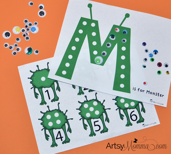 M is for Monster: Preschool Math & Fine Motor Skills Activity