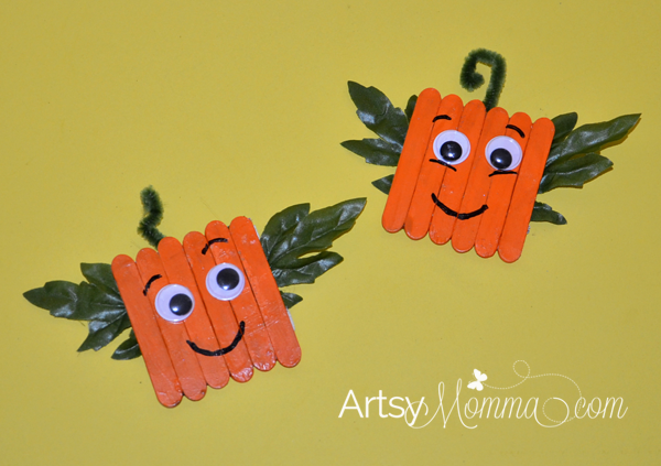 Mini Craft Stick Pumpkin Magnets