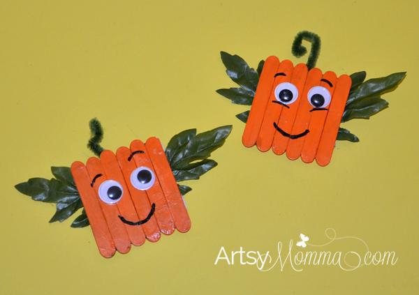 Mini Craft Stick Pumpkin Magnets