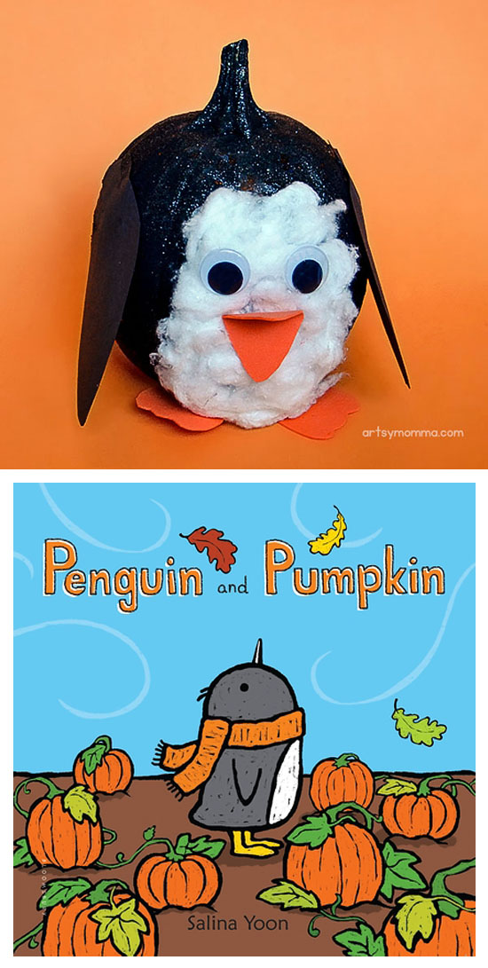 Painted Penguin Pumpkin Design And Book Idea For Halloween