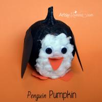 Kids Craft: Pumpkin Decorated like a Penguin