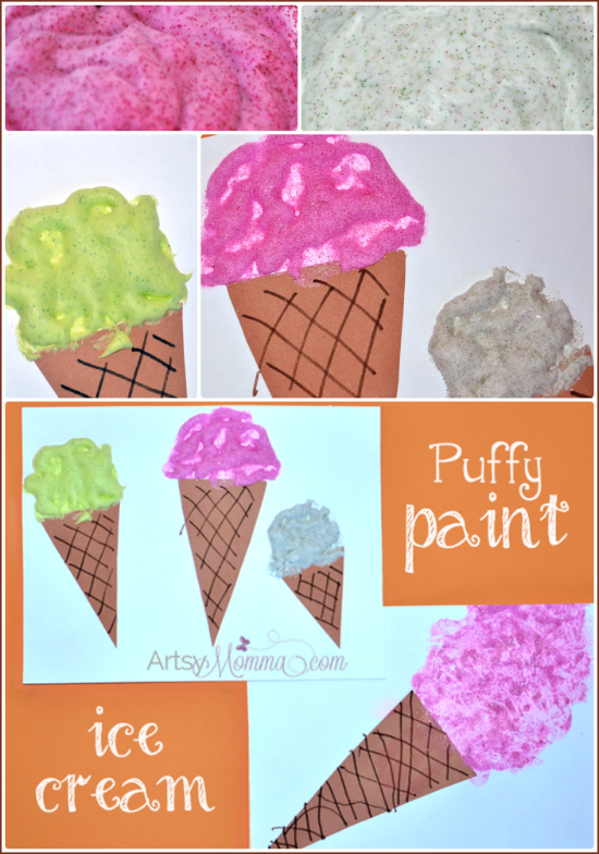 Puffy Glitter Paint Recipe and Ice Cream Cone Craft