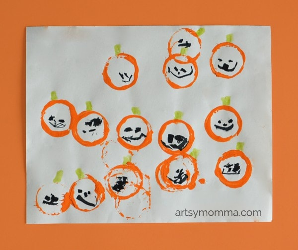 Stamped Bottle Painting: Pumpkin Patch Craft for Kids
