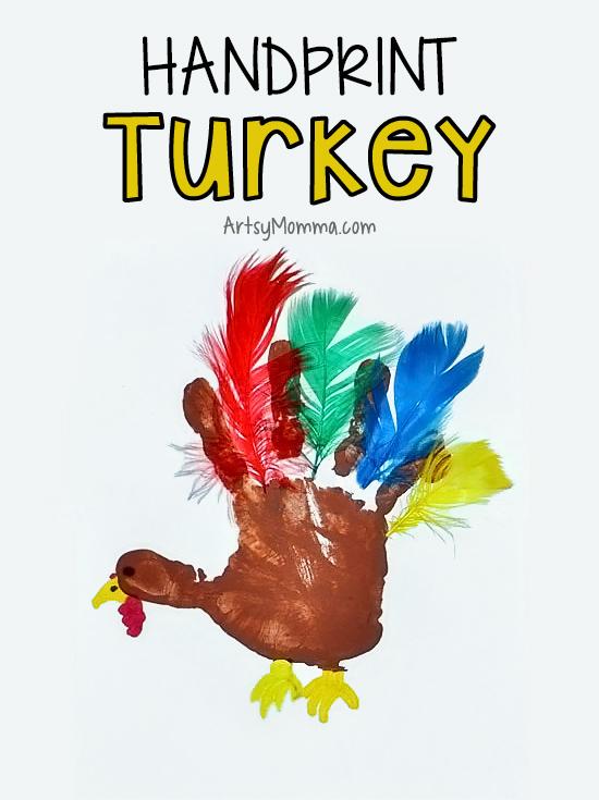 Feathered Handprint Turkey Craft