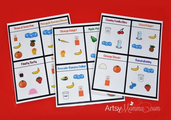 Free Printables: Pretend Play Smoothie Recipes for Kids