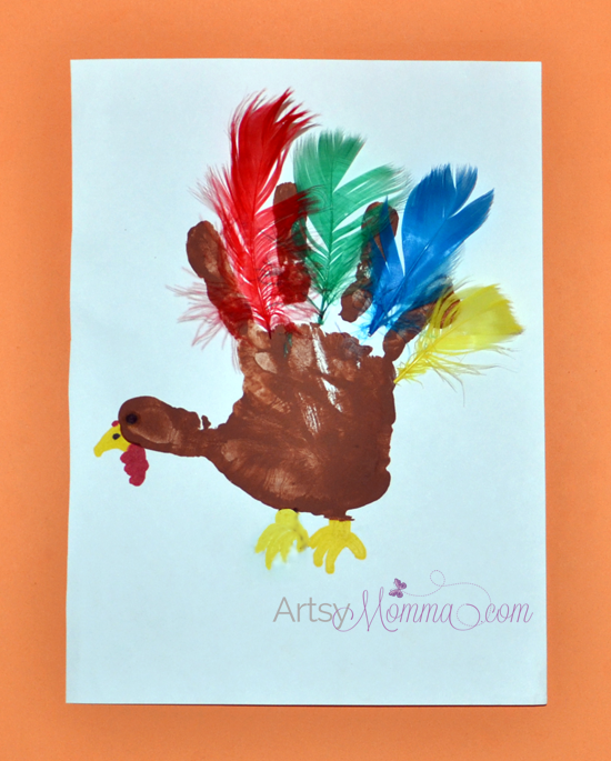 Handprint Turkey with Feathers - Preschool Craft