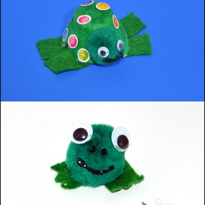 Pom Pom Turtle and Frog Crafts