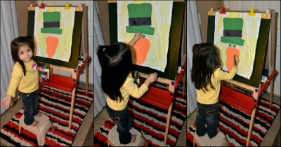 Making Crafts on the Standing Floor Easel