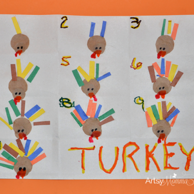 Turkey Crafts for Preschoolers – Feather Counting Activity and Handprint Turkey