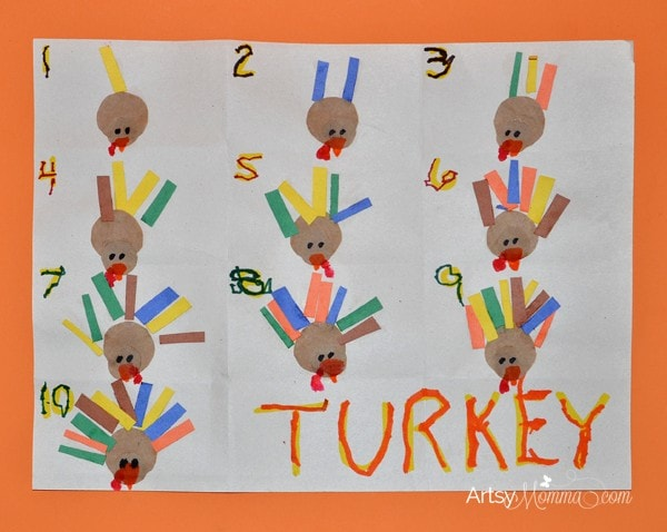 Turkey crafts for preschoolers feather counting activity for Thanksgiving craft ideas for kindergarten