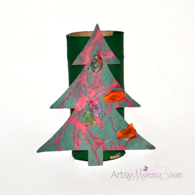 Cardboard Tube Christmas Tree Craft for Kids