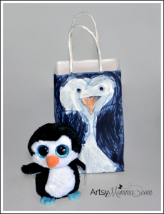Kid-made Gift Wrap - DIY Penguin Gift Bag Craft