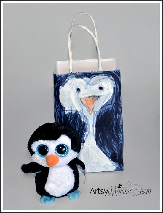 Kid-made Gift Wrap - DIY Penguin Gift Bag Craft