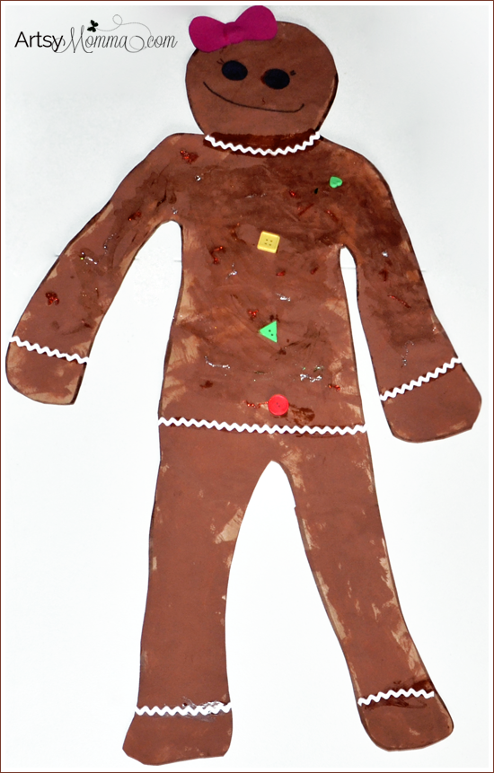 Life Sized Gingerbread Girl Craft For Preschoolers Artsy Momma