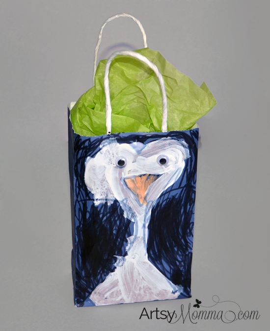 Make a Penguin Gift Bag! Kid-made Gift Wrap Idea