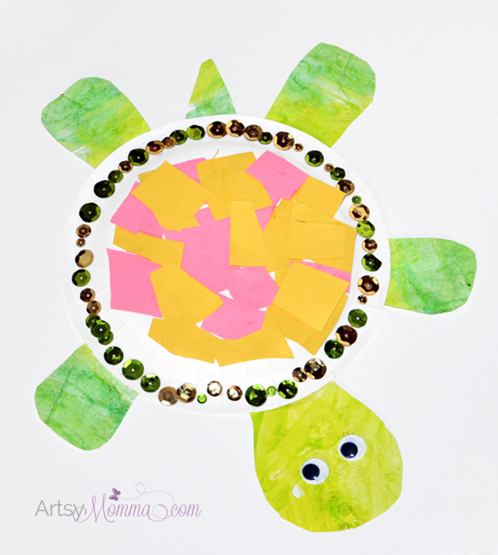 Paper Plate Animals - Turtle Craft for Preschoolers  sc 1 st  Artsy Momma : paper plate turtle - pezcame.com