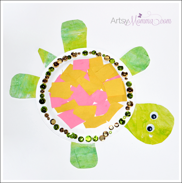 Paper Plate Turtle - Cut and Paste Craft for Preschoolers