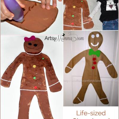 Preschool Christmas Craft: Life-sized Gingerbread Girl and Boy