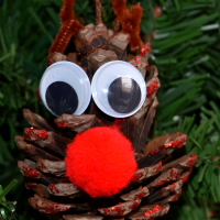 Rudolph Pinecone Ornament Craft for Kids