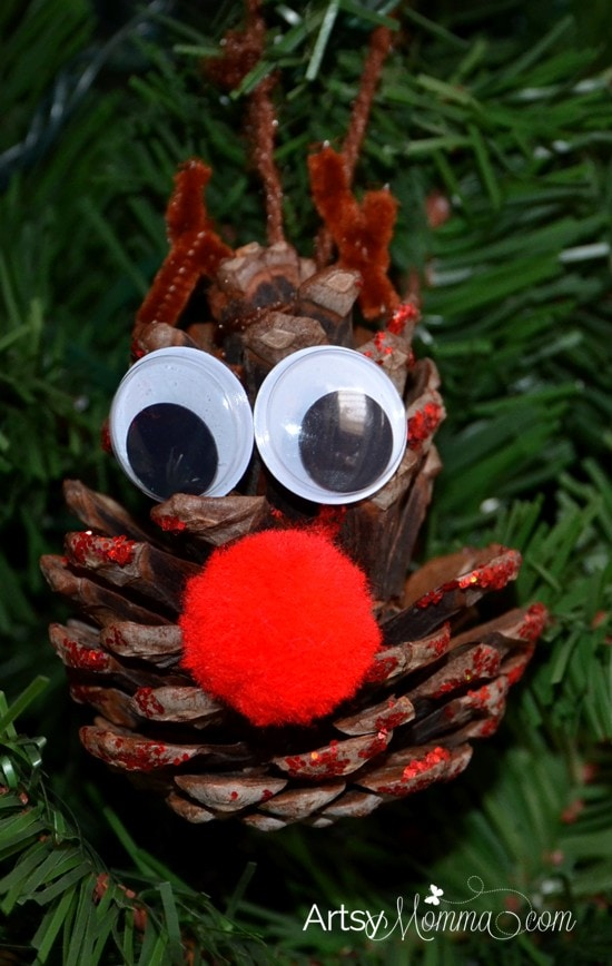 pinecone ornament craft ideas rudolph pinecone ornament craft for artsy momma 5169