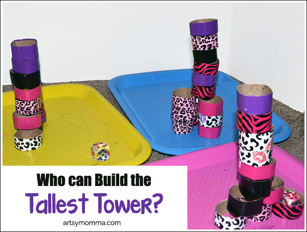 Build the Tallest Tower Game for Kids - Recycled Craft