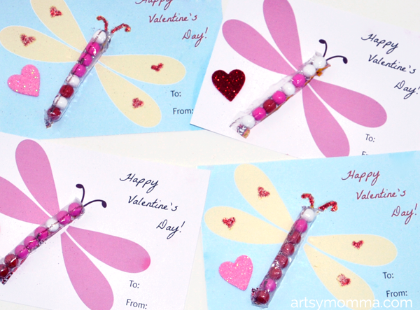 Classroom Valentine Idea - Candy Dragonfly Cards