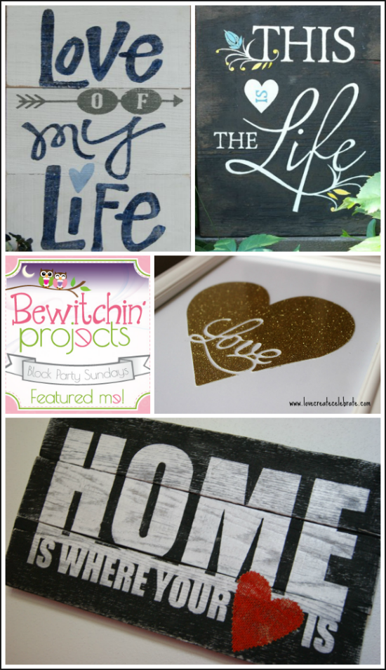 This week, I am featuring projects for the artsy moms and other DIY decor crafters. So this week's features are, obviously, DIY Signs that make lovely decor.