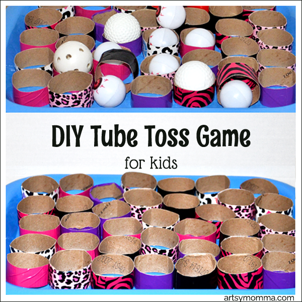 DIY Tube Toss Math Game for Kids