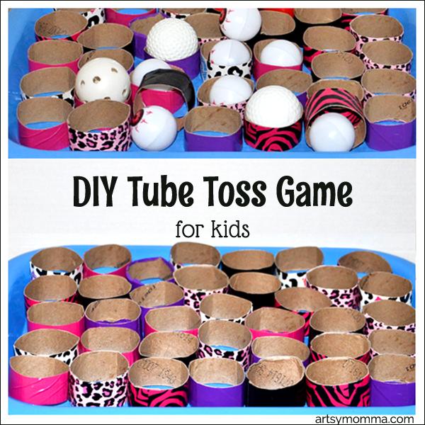 DIY Tube Toss Math Game for Kids