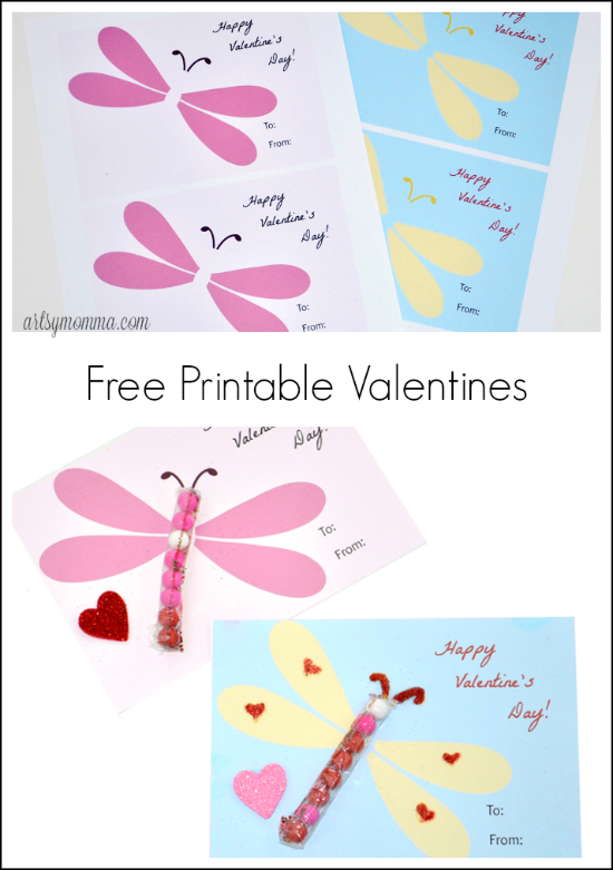 Free Printable Dragonfly Candy Valentine for the classroom