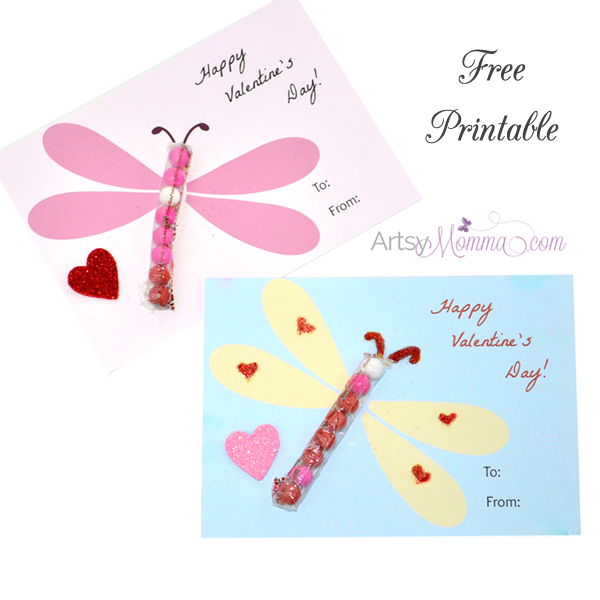 Printable Dragonfly Valentines with Sixlets