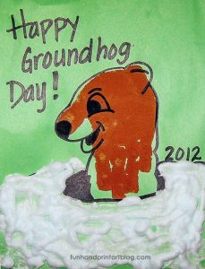 Handprint Groundhog craft