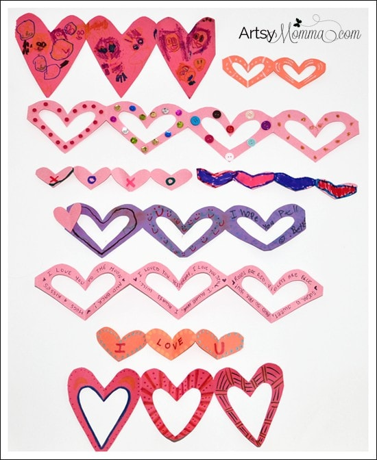 Paper Heart Chains Craft for Valentine's Day