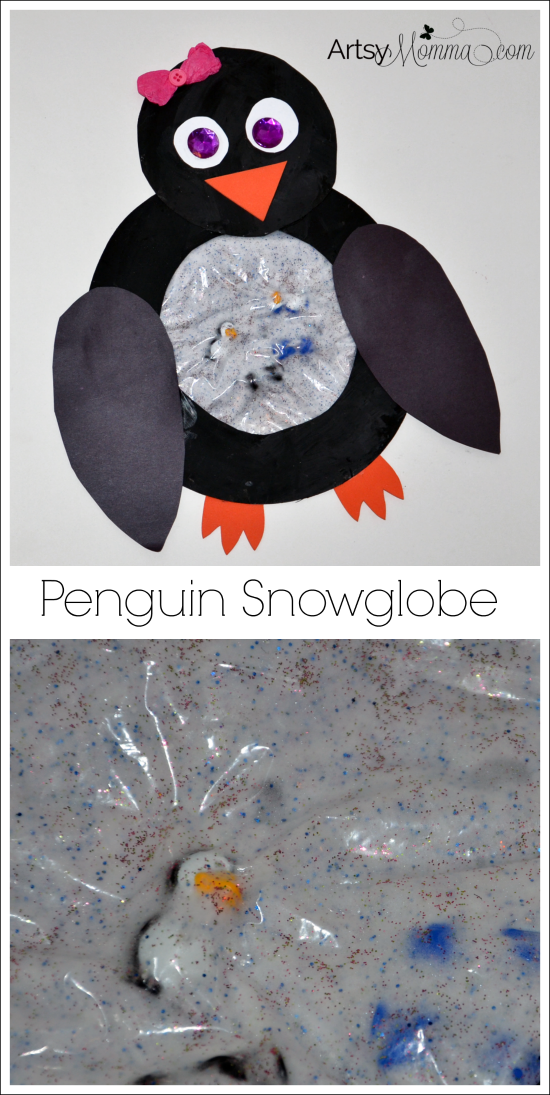 Penguin Snowglobe Sensory Craft for Preschoolers