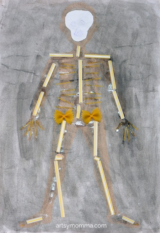 Straw & Pasta X-ray Skeleton Craft for Kids