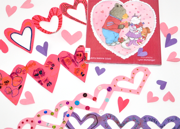 Valentine's Day Book and easy Heart Chain Craft