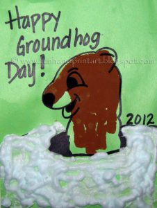 Groundhog made from handprint