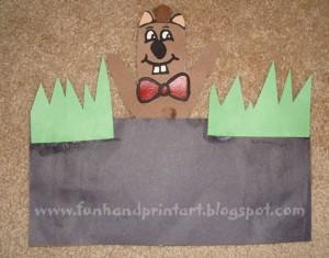 Handprint Groundhog Puppet