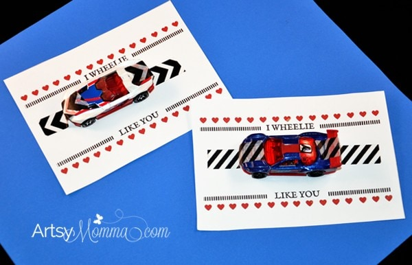 Free Printable Valentine's Day Cards for Kids: I Wheelie Like You Saying