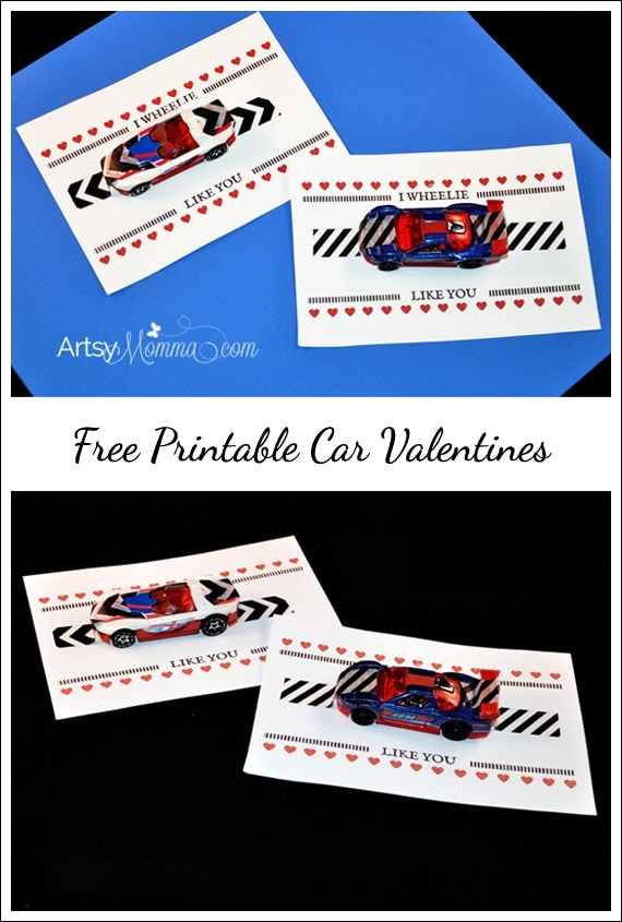 Free Printable: I Wheelie Like You Car Valentine - Add a toy car with patterned washi tape!