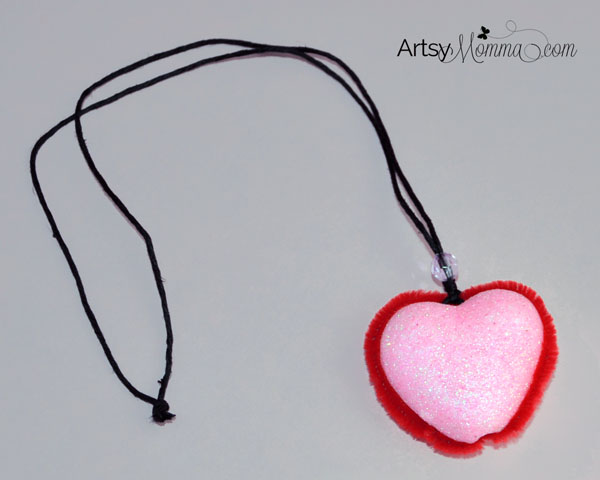 Heart Pendant Necklace Craft for Kids