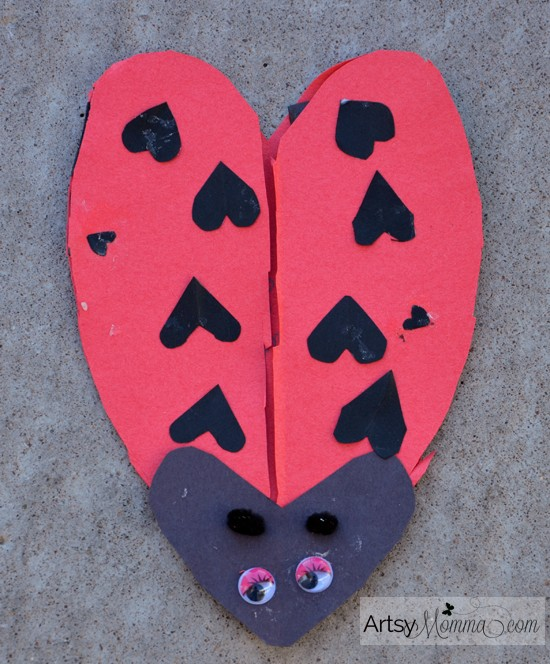 Heart-shaped Ladybug Card for Valentine's Day