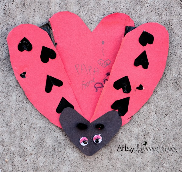Heart-shaped Ladybug Card