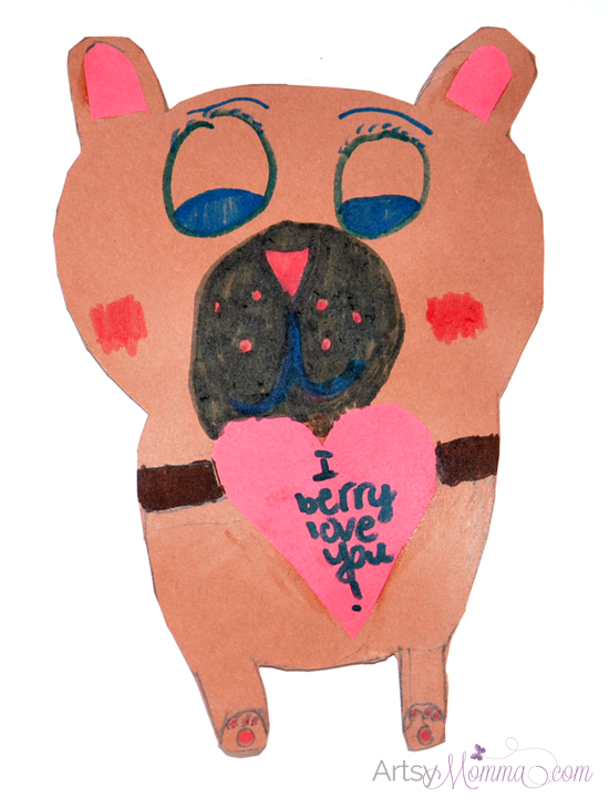 Kid-made Valentine's Day Card: Heart-shaped Bear Craft