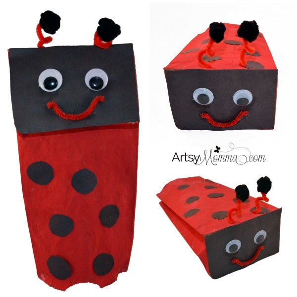 Easy Paper Bag Ladybug Puppet For Imaginative Play