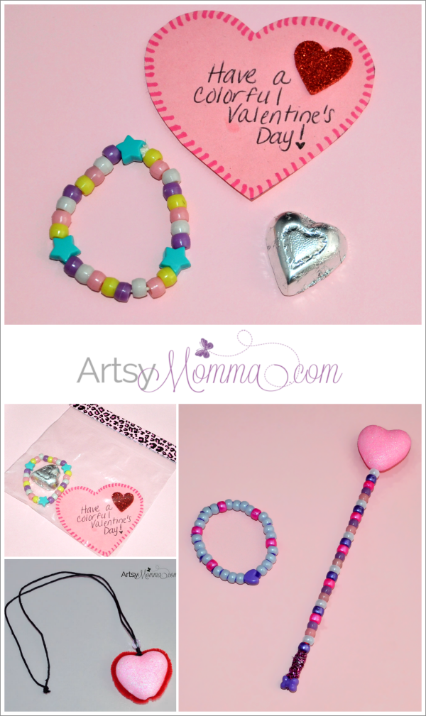 Preschool Fine Motor Activities for Valentine's Day: Bracelet Candy Gift and Beaded Heart Wand