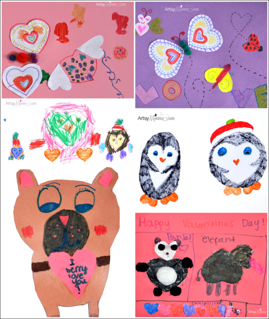 Valentine's Day Craft: Animals made from Hearts
