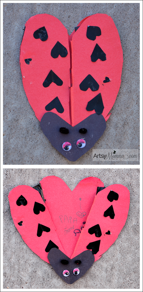Valentine's Day Craft - Heart Shaped Ladybug Card