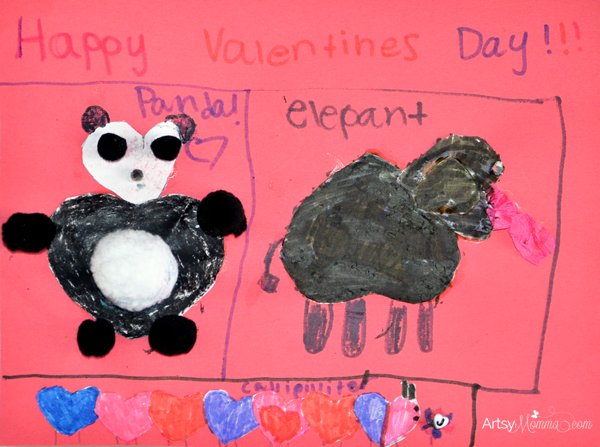 Valentine's Day Crafts: Heart-shaped Panda, Caterpillar, & Elephant