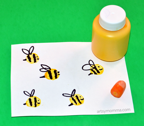 Carrot Stamped Bees Craft